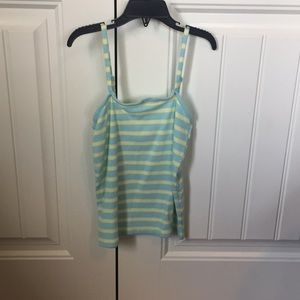 Blue yellow and white striped tank top